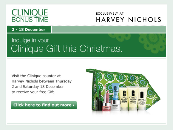 Indulge in your exclusive Clinique Gift this Christmas at Harvey Nichols